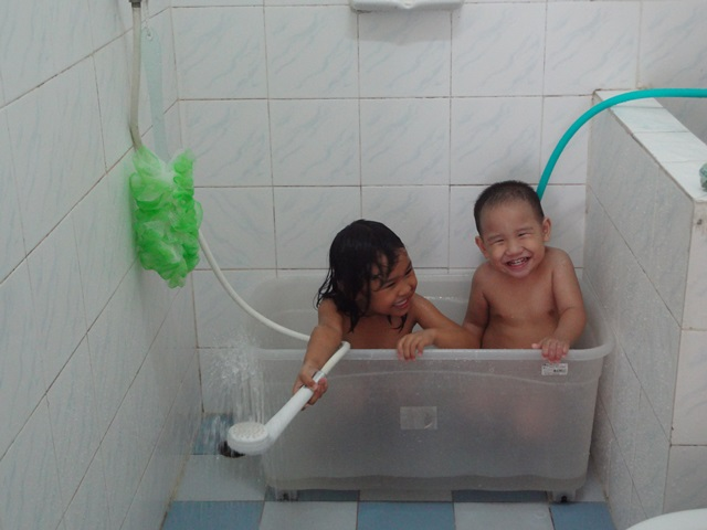 Family Bath Together But we don't have a bath tub.