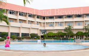 hotel building and pools for adults and kids