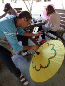 designing umbrellas at Bor Sang Umbrella Village