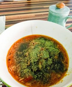 dish with moringa topping