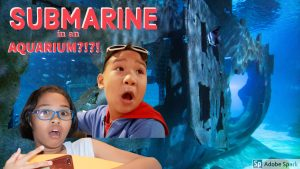shocked kids- A Submarine in the Newest and Biggest Aquarium in Thailand