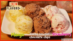 three ice cream flavors
